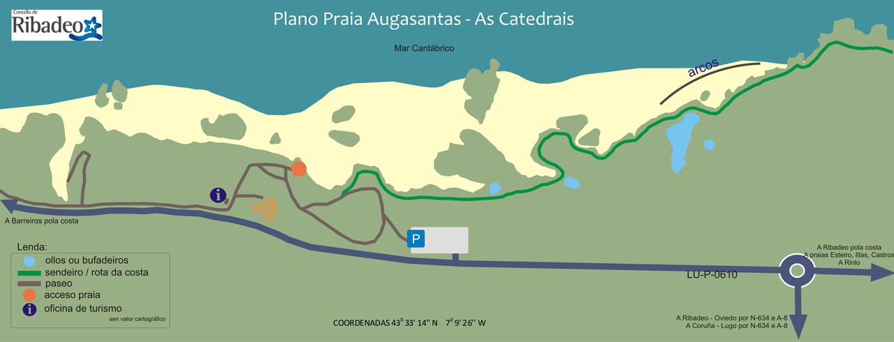 la playa de las catedrales mapa
